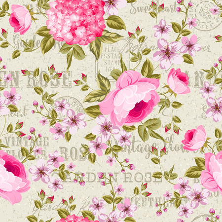 seamless floral pattern: Luxurious peony, rose and  hydrangea wallapaper in vintage style in white backgrond. Floral seamless pattern with blossom buds over linear gray background.