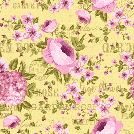 postmarks: Luxurious peony wallapaper in vintage style. Floral seamless pattern with blossom buds over linear gray background.  Vector illustration.Backdrop of postal stamps and postmarks, gray background. Illustration