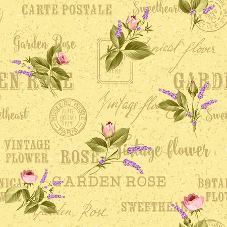 chik: Rose and Lavender. Blossom provence flowers. Classical luxury old fashioned ornament, royal seamless texture for wallpapers, textile, wrapping. Backdrop of postal stamps and postmarks. Illustration