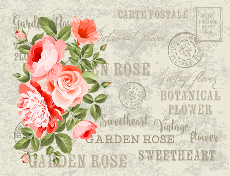 pink vintage: Wedding Card and engagement announcement. Wedding of Michael and Jessica. Backdrop of postal stamps and postmarks, gray background. Vector illustration. Illustration