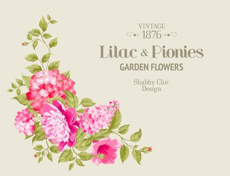 beautiful flowers: Wedding invitation card of color flowers. Vector illustration.