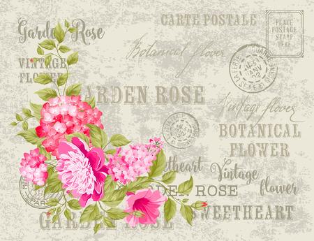 postmarks: Wedding invitation card of color flowers. Backdrop of postal stamps and postmarks, gray background. Vector illustration.
