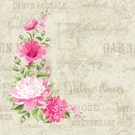 postmarks: Flower garland for invitation card. Card template with blooming flowers and custom text. Backdrop of postal stamps and postmarks, gray background. Vector illustration.