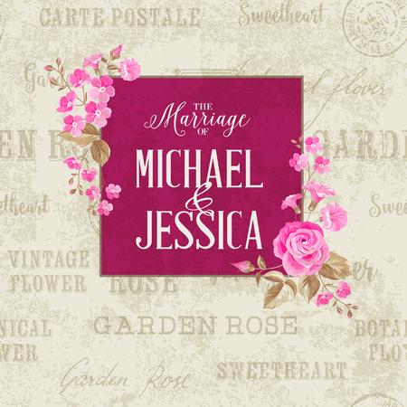 illustration invitation: Awesome vintage card of color flowers. Wedding invitation card of color flowers. Backdrop of postal stamps and postmarks, gray background. Vector illustration.