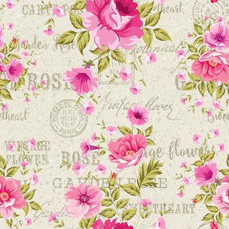 Rosa Rosen auf grauem Hintergrund der Post Muster, florale Tapete, nahtlose Muster. Hintergrund der Briefmarken und Stempel, grauen Hintergrund. Vektor-Illustration.