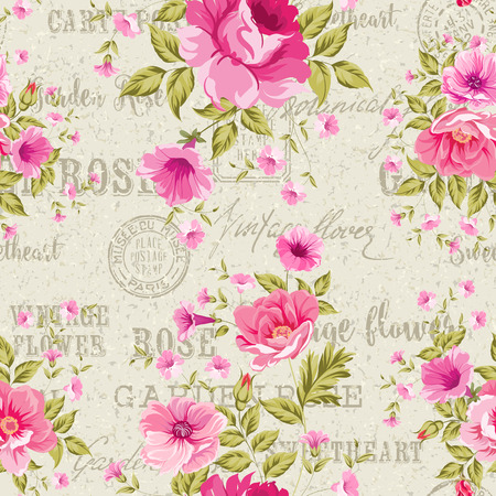 Pink Roses over gray background of postal pattern, floral wallpaper, seamless pattern. Backdrop of postal stamps and postmarks, gray background. Vector illustration.