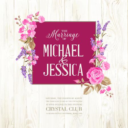 violeta: Tarjeta de invitación de boda con señal de costumbre y marco de flores sobre fondo de madera. Ilustración del vector.