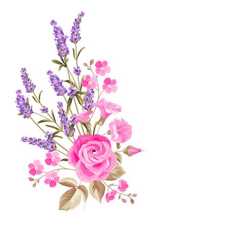 Enkele roos boeket. Zachte vintage kaart met de hand getekende bloemen krans in aquarel stijl van lavendel. Vector illustratie.