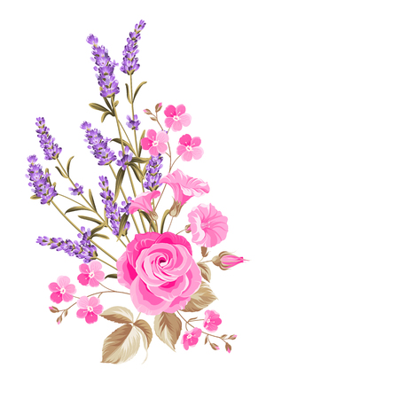 Single rose bouquet. Gentle vintage card with hand drawn floral wreath in watercolor style of lavender. Vector illustration. Иллюстрация