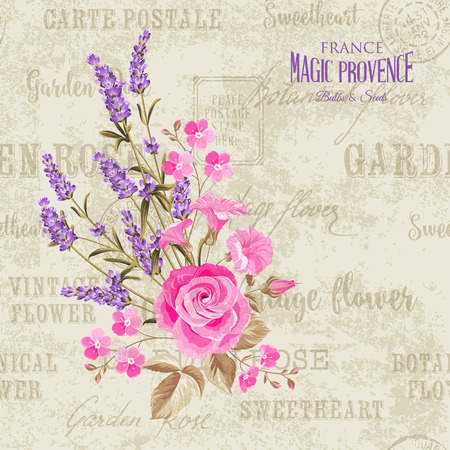 lavender flower: The lavender elegant card. Backdrop of postal stamps and postmarks, gray background. Vintage postcard background vector template for wedding invitation. Vector illustration.