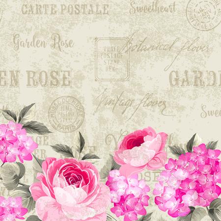 postmarks: Luxurious vintage frame of color flowers. Red flowers over postcard background. Backdrop of postal stamps and postmarks, gray background. Vector illustration.