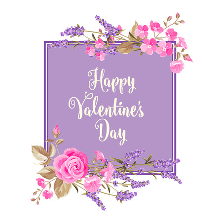 violet: Happy Valentines Day Card. Hand lettering on violet rectangle background with flowers. Floral wreath in watercolor style of lavender. Vector illustration.