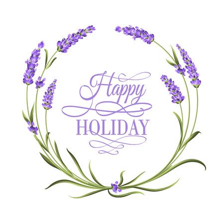 Der Lavendel eleganten Rahmen mit Blumenstrauß und Text. Lavendelblüten. Ehe Einladung. Label-Seife-Paket. Rahmen mit Lavendelblüten. Vektor-Illustration.