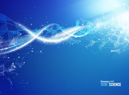 DNA と青色の背景色。青色の背景と DNA molucule と抽象の分子接続。ベクトルの図。  イラスト・ベクター素材