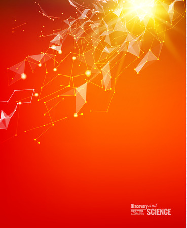 numbers abstract: Abstract particles over red background with shining sparks. Light background of atom for science design. Vector illustration. Illustration