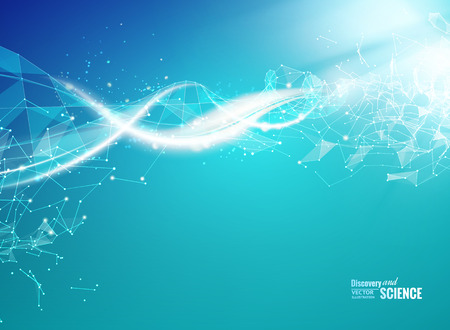 science scientific: Blue background with DNA. Blue background and abstract molecular connection with DNA molucule. Vector illustration.