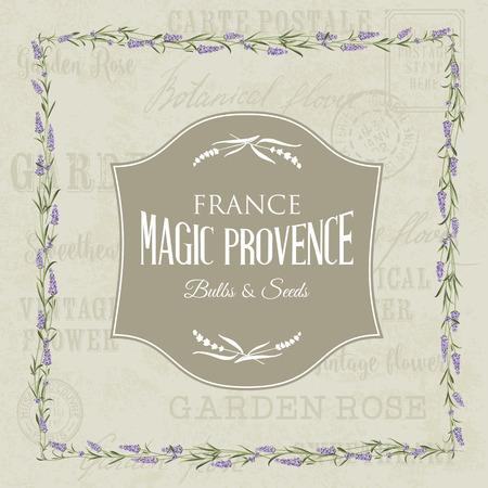 old pc: The lavender elegant card. Backdrop of postal stamps and postmarks, gray background. Vintage postcard background vector template for wedding invitation. Vector illustration.