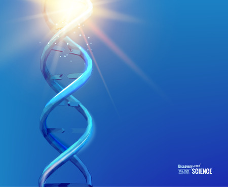 chemical compound: Blue background with DNA. Blue background and abstract molecular connection with DNA molucule. Vector illustration.