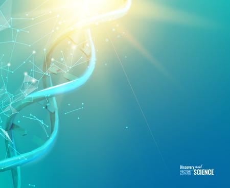 DNA に触れる人間の手の科学概念イメージ。ベクトルの図。