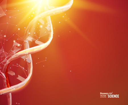Science template for your card, red wallpaper or banner with a DNA molecules of polygons. Wire-frame mesh polygonal element. Glow light futuristic background.  Vector illustration.