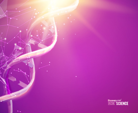 Science template for your card, bright wallpaper or banner with a DNA molecules of polygons. Wireframe mesh polygonal element. Glow light futuristic background.  Vector illustration.