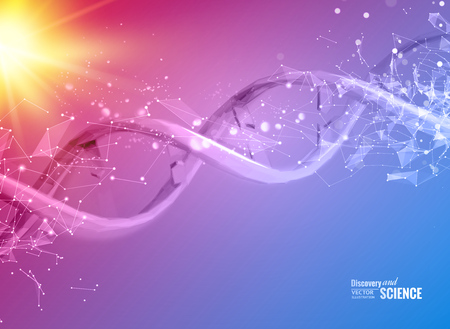 Scince illustration of a DNA molecule. Vector illustration. Ilustração