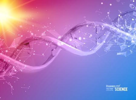 adn humano: Scince ilustración de una molécula de ADN. Ilustración del vector.