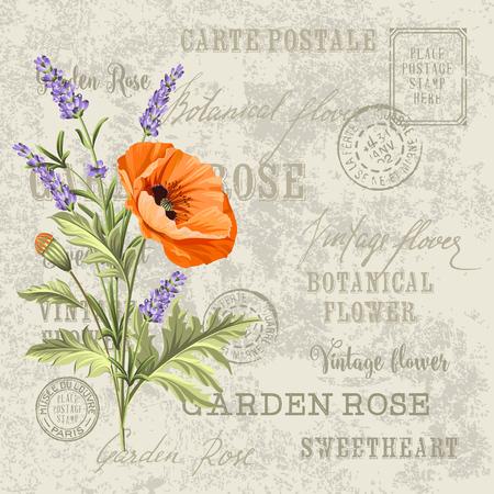 The poppy elegant card. Backdrop of postal stamps and postmarks, gray background. Vintage postcard background vector template for wedding invitation. Vector illustration.