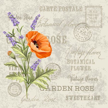 The poppy elegant card. Backdrop of postal stamps and postmarks, gray background. Vintage postcard background vector template for wedding invitation. Vector illustration.