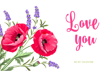 I love you card. Bunch of lavender and poppy flowers on a gray background.