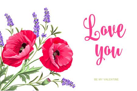Te amo tarjeta. El manojo de lavanda y flores de amapola en un fondo gris.