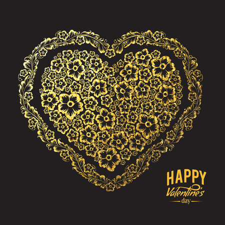 gold heart: Decorative gold heart created in an elegant, contemporary style.  Vector illustration, contains transparencies, gold and effects.