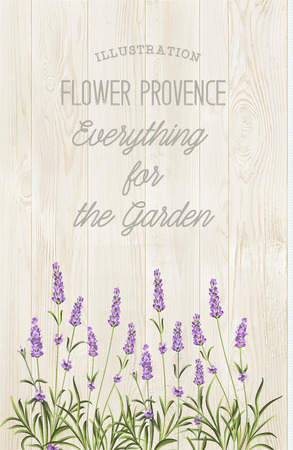 provence: The lavender elegant card with bouquet of flowers and text. Lavender garland for your text presentation. Label of soap package. Label with wooden texture.