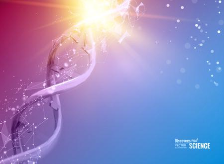 Science illustration of a DNA molecule. Vectores
