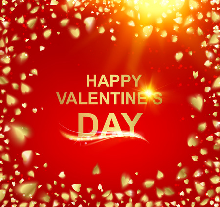 holyday: Gold template over red background with golden confetti. Happy valentines day 2016. Red holyday abstraction. Fallen sparks and sun rays in the bright area. Vector illustration. Illustration