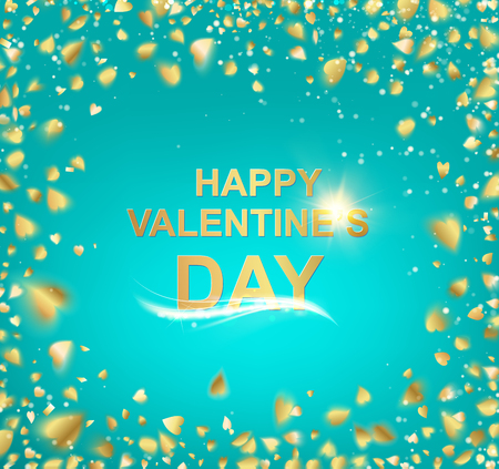 holyday: Gold template over blue background with golden confetti. Happy valentines day 2016. Blue holyday abstraction. Fallen sparks and sun rays in the bright area. Vector illustration. Illustration