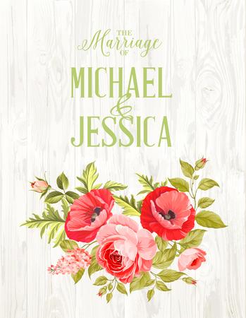 Mariage carte d'invitation avec le signe personnalisé et le cadre de fleurs sur fond de bois. Vintage background carte avec de beaux coquelicots. Vector illustration.