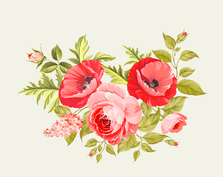 The poppy elegant card. The bouquet of poppy flowers. Small floral garland. Vector illustration.