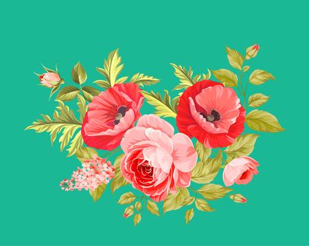 ramo de flores: La amapola tarjeta elegante. El ramo de flores de amapola. guirnalda de flores pequeñas. Ilustración del vector.