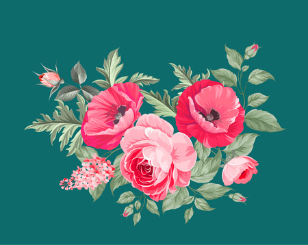 La amapola tarjeta elegante. El ramo de flores de amapola. guirnalda de flores pequeñas. Ilustración del vector.