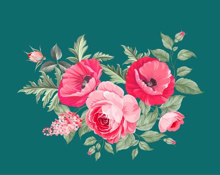 poppy: La amapola tarjeta elegante. El ramo de flores de amapola. guirnalda de flores pequeñas. Ilustración del vector.