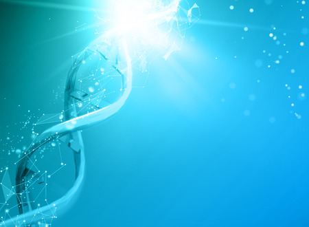 Blue background with DNA. Blue background and abstract molecular connection with DNA molucule. Illustration