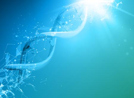DNA と青色の背景色。青色の背景と DNA molucule と抽象の分子接続。