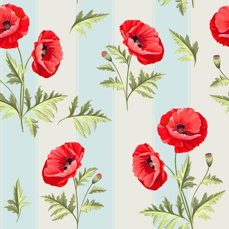 poppy: Patrón de flores de amapola en un fondo blanco.