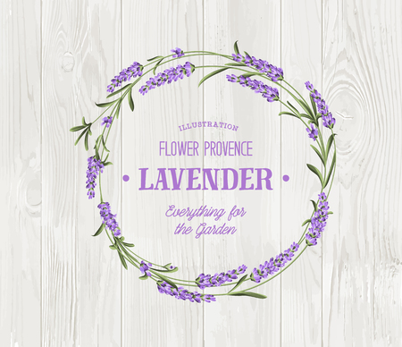 The lavender bouquet with text template over wooden texture. The lavender elegant card. Vintage postcard background template for wedding invitation.