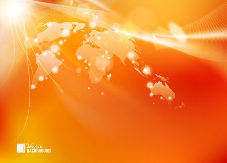 Stile di tecnologia di mappa del mondo su sfondo arancione brillante. Fondo astratto di lustro dell'infographics della mappa di mondo. Vettoriali