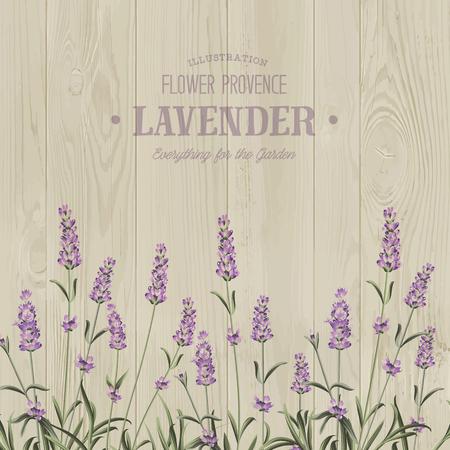 木のテクスチャーにテキスト テンプレートとラベンダー ブーケ。ラベンダーのエレガントなカード。結婚式招待状のヴィンテージはがき背景ベクト