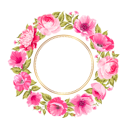 Border of bright flowers in vintage style. Vector illustration.  イラスト・ベクター素材