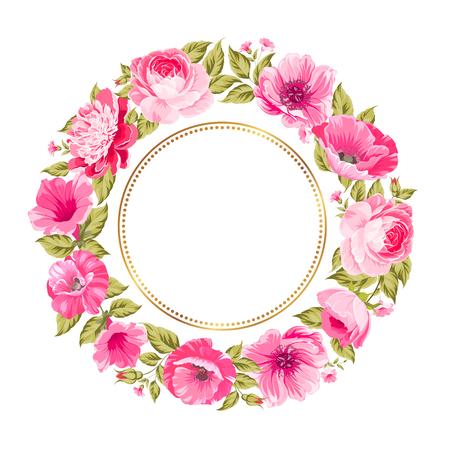 Border of bright flowers in vintage style. Vector illustration. Vettoriali