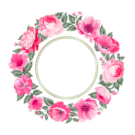 pink flowers: Frame of flowers in vintage style. Vector illustration.